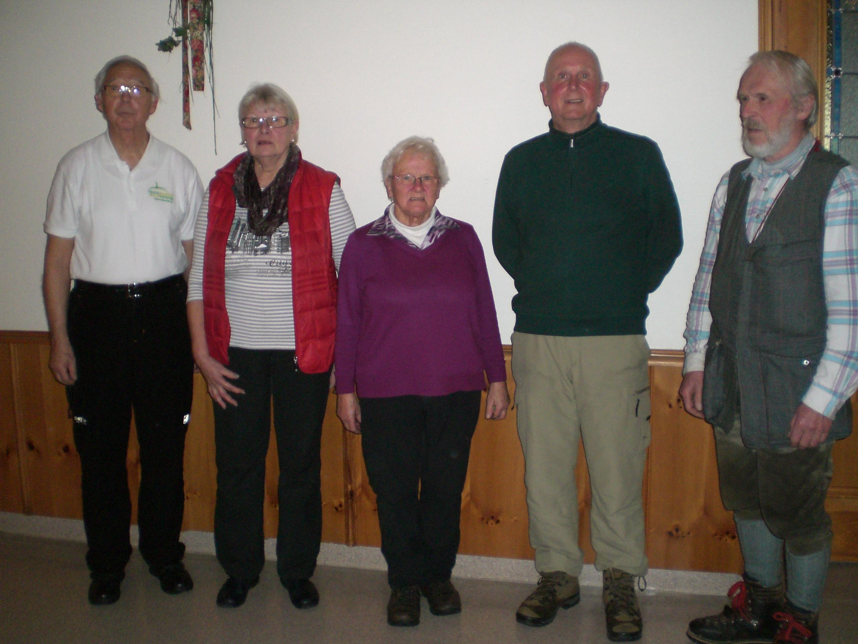 Von links: Vors. Uwe Petersen, Ursula Wedegärtner, Renate Niebuhr, Horst- H. Wedegärtner und Ernst Nölke